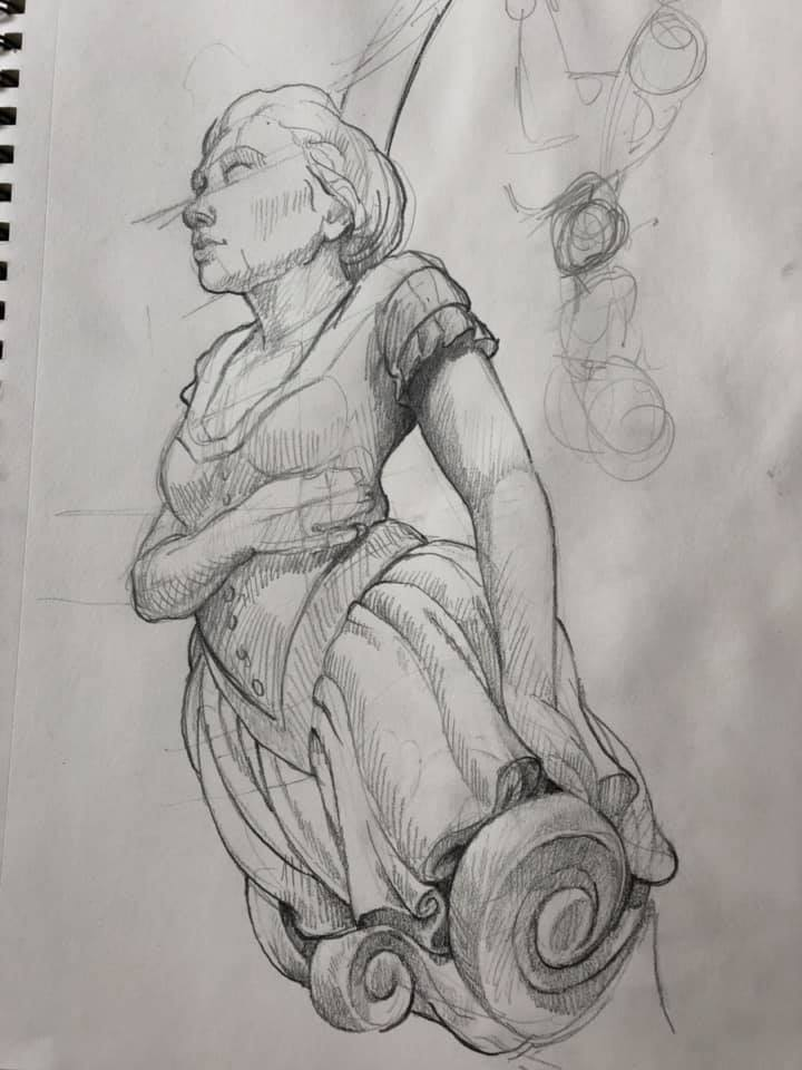Figurehead study, pencil